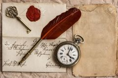 old letter with wax seal. vintage background